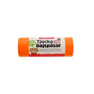 Dogman: Bajspåse med handtag orange, 50-pack